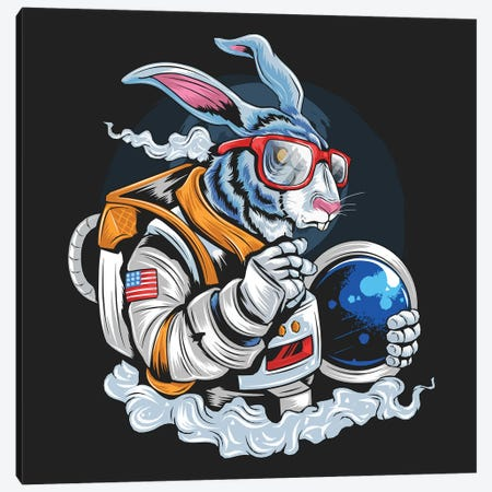 Rabbit astronaut Canvas Print #ARM459} by Art Mirano Canvas Artwork
