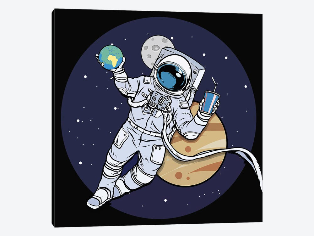 Astronaut And Juice by Art Mirano 1-piece Canvas Artwork