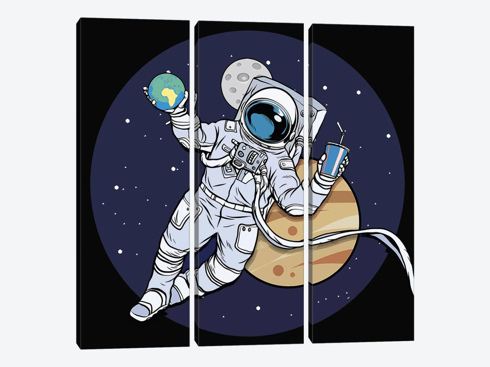 Astronaut And Juice by Art Mirano 3-piece Canvas Wall Art