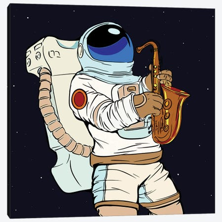 Astronaut Playing the saxophone. Canvas Print #ARM464} by Art Mirano Canvas Art
