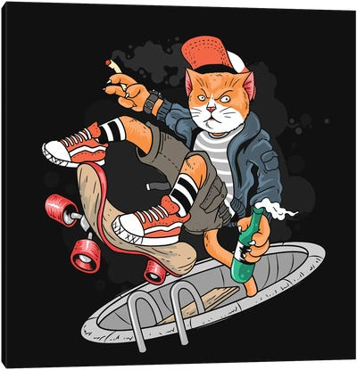 Cat and skateboard Canvas Art Print