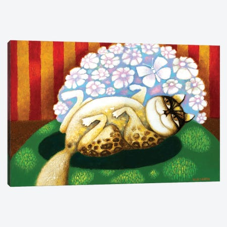 Cat with flowers Canvas Print #ARM480} by Art Mirano Canvas Print