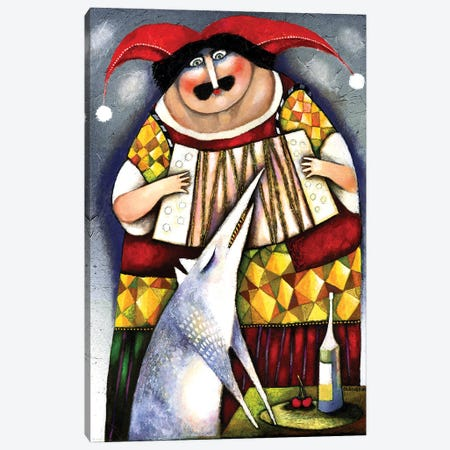Accordion player and wolf Canvas Print #ARM487} by Art Mirano Canvas Artwork