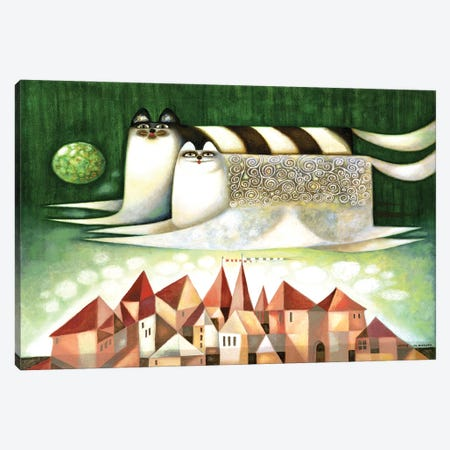 Flying cats Canvas Print #ARM499} by Art Mirano Canvas Wall Art