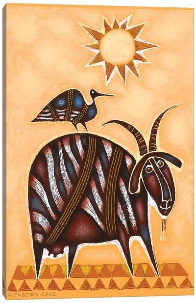 Goat and bird Canvas Art Print