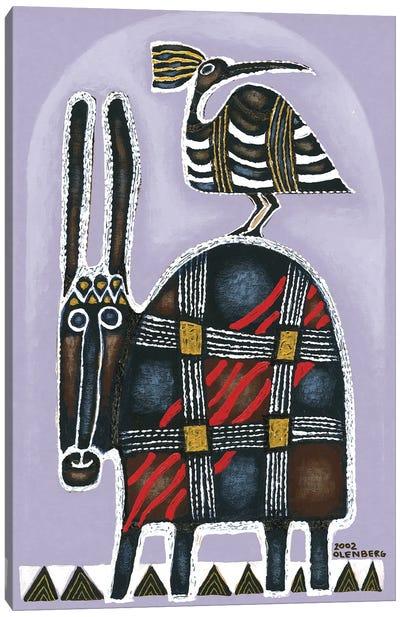 Donkey and bird Canvas Art Print