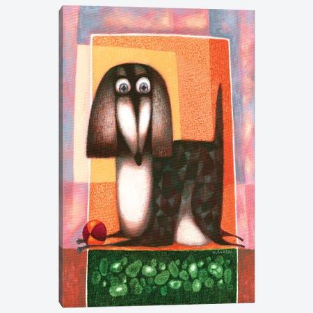 Dog and ball Canvas Print #ARM505} by Art Mirano Art Print