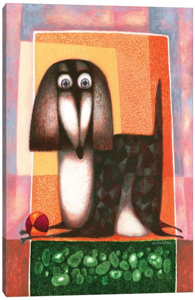 Dog and ball Canvas Art Print