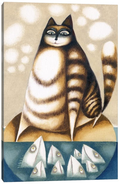 Fish and Big cat Canvas Art Print