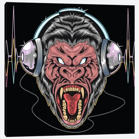 Gorilla with headphones Canvas Print #ARM515} by Art Mirano Canvas Artwork