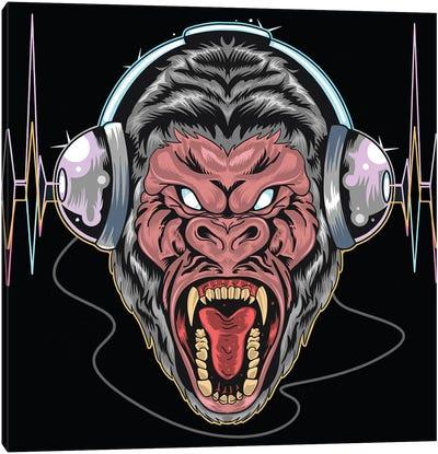 Gorilla with headphones Canvas Art Print