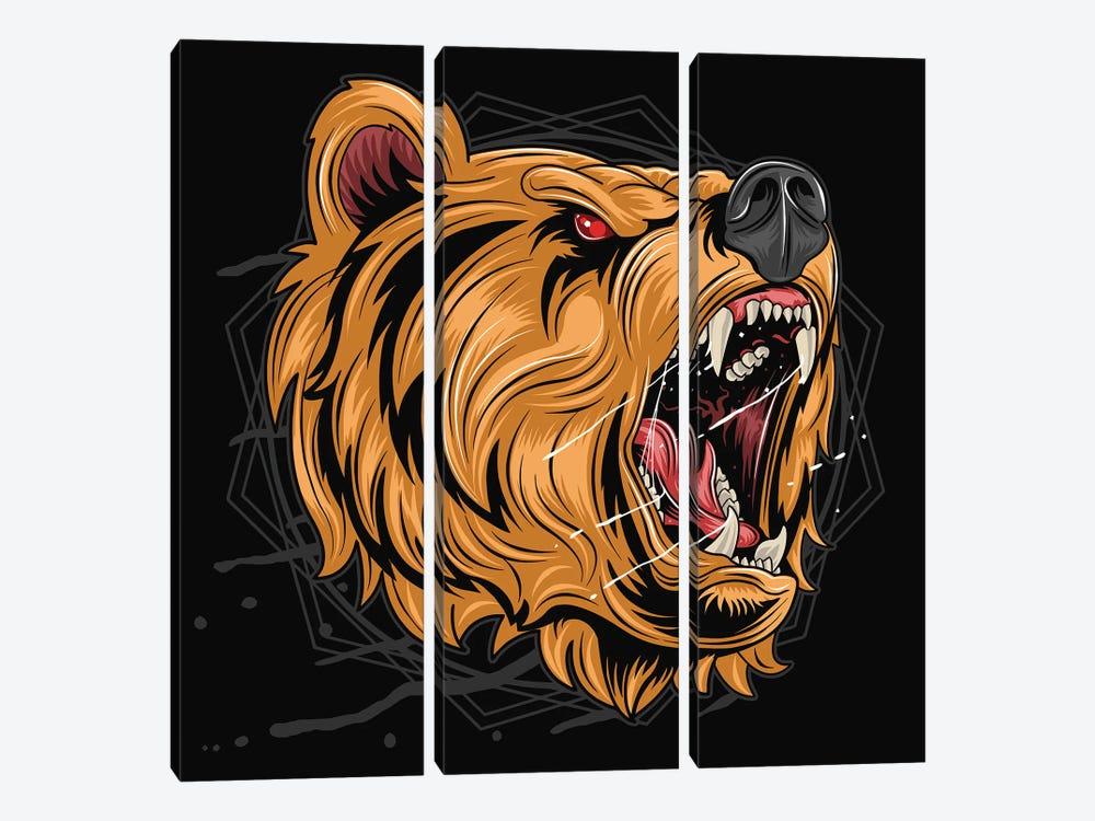 Black bear by Art Mirano 3-piece Canvas Art Print