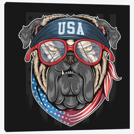 Bull Dog USA Canvas Print #ARM525} by Art Mirano Canvas Print