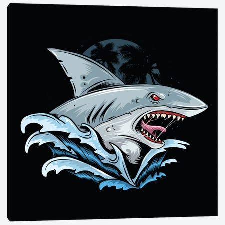 Shark Rage Face Canvas Print #ARM526} by Art Mirano Art Print