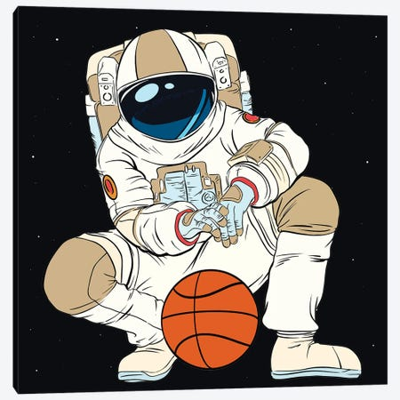 Playing Basketball Astronaut Canvas Print #ARM530} by Art Mirano Canvas Art Print
