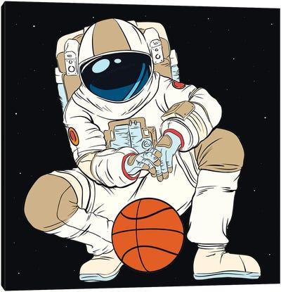 Playing Basketball Astronaut Canvas Art Print