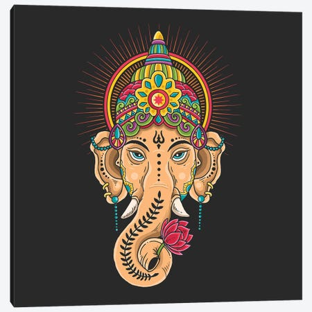 God Shiva Tibetan Motive Canvas Print #ARM534} by Art Mirano Canvas Artwork