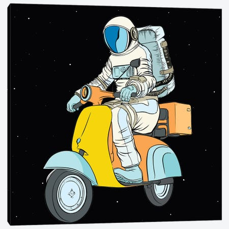 Cosmonaut And Scooter Canvas Print #ARM537} by Art Mirano Canvas Wall Art