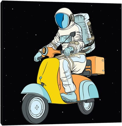 Cosmonaut And Scooter Canvas Art Print