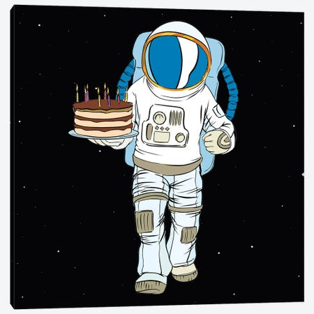 Cosmonaut And Cake Canvas Print #ARM538} by Art Mirano Art Print