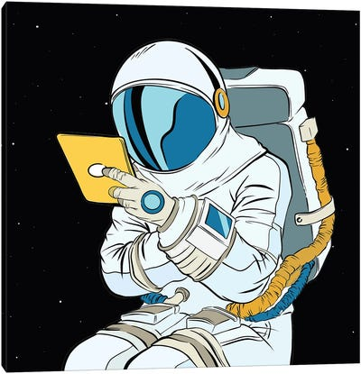Astronaut And Tablet Canvas Art Print