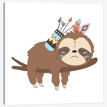 Adorable Baby Sloth Illustration Canvas Print #ARM553} by Art Mirano Art Print