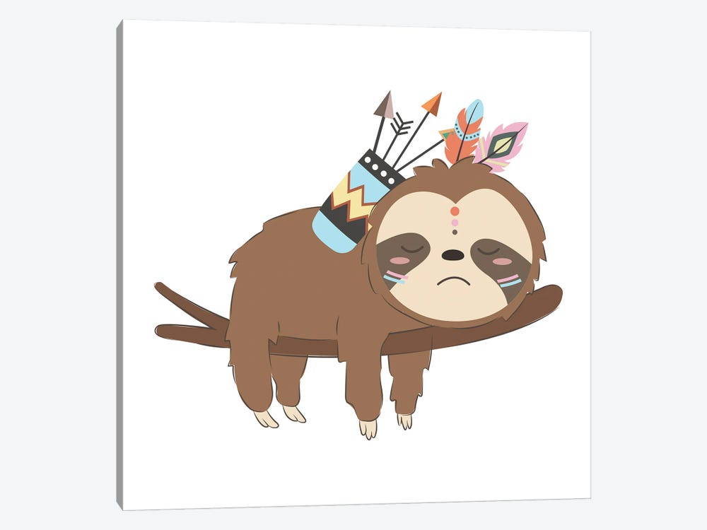 Adorable Baby Sloth Illustration by Art Mirano 1-piece Canvas Artwork