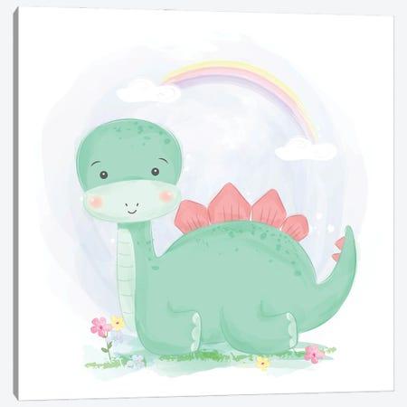 Cute Watercolor Green Dinosaur Canvas Print #ARM556} by Art Mirano Canvas Art