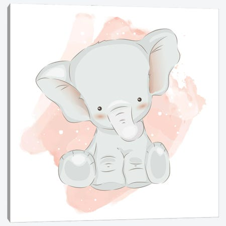 Baby Elephant Cute Canvas Print #ARM557} by Art Mirano Canvas Artwork