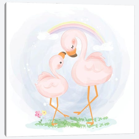 Mommy And Baby Flamingo Canvas Print #ARM558} by Art Mirano Canvas Art Print