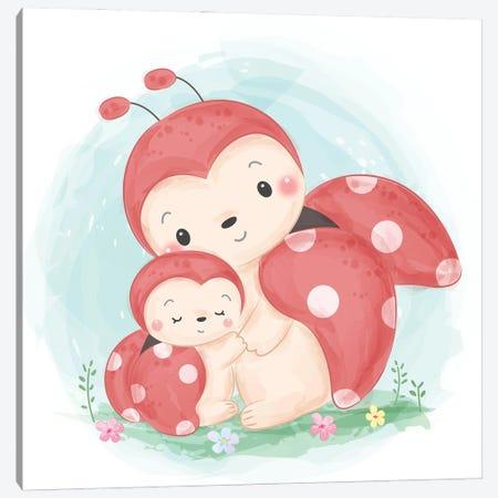 Watercolor Ladybug Motherhood Illustration Canvas Print #ARM559} by Art Mirano Canvas Print
