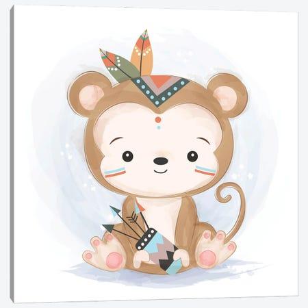 Baby Monkey Illustration Canvas Print #ARM561} by Art Mirano Canvas Art
