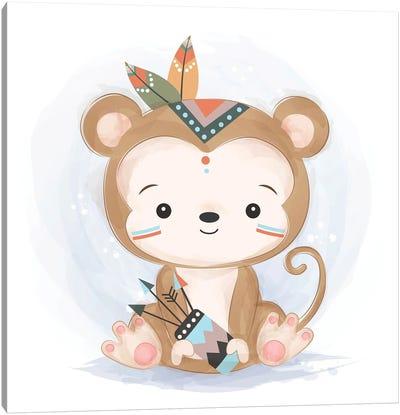 Baby Monkey Illustration Canvas Art Print