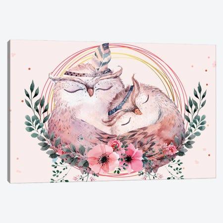 Owl Mother Illustration Canvas Print #ARM565} by Art Mirano Canvas Print