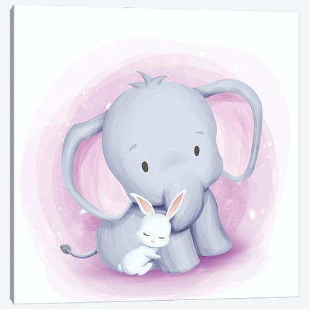Baby Elephant And Baby Rabbit Canvas Print #ARM566} by Art Mirano Canvas Print