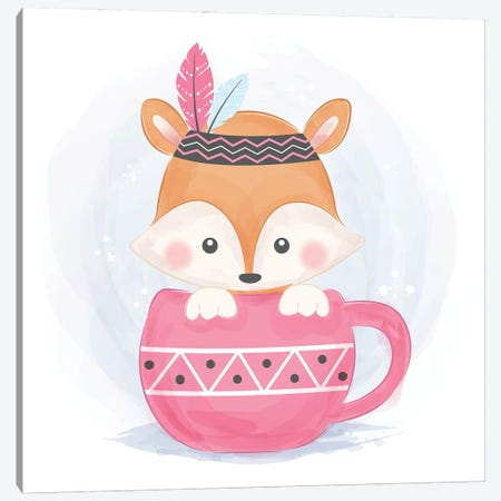 Baby Fox For Kids Room Illustration Canvas Print #ARM567} by Art Mirano Art Print