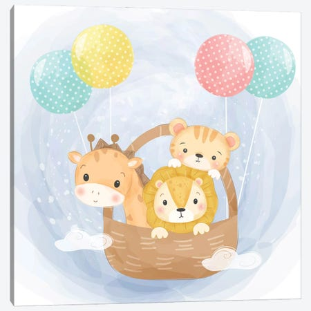 Baby Animals Flying With Balloons For Kids Room Canvas Print #ARM568} by Art Mirano Canvas Wall Art