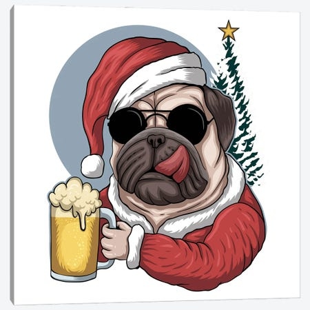 Pug Dog Beer Wearing Canvas Print #ARM569} by Art Mirano Canvas Art