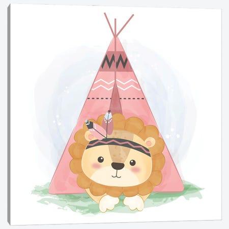 Watercolor Tribal Baby Lion Illustration Canvas Print #ARM570} by Art Mirano Art Print