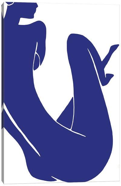 Blue Woman Minimalism Canvas Art Print
