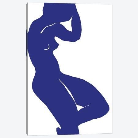 Woman Minimalism Blue Canvas Print #ARM583} by Art Mirano Canvas Artwork