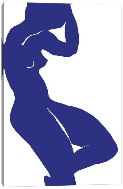 Woman Minimalism Blue Canvas Art Print