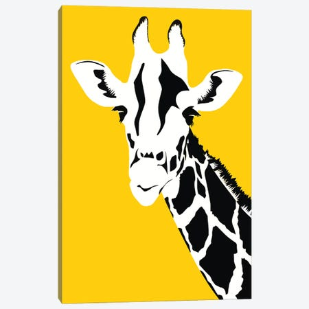 Giraffe On Yellow Canvas Print #ARM590} by Art Mirano Canvas Print