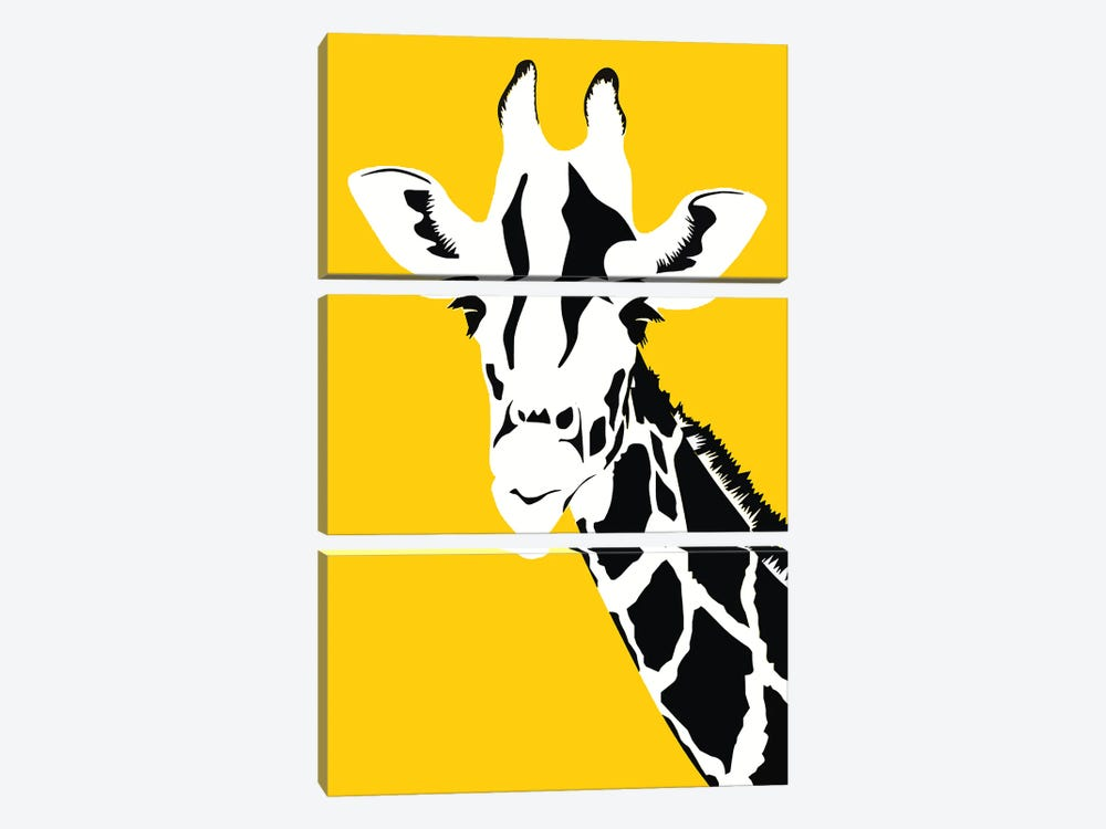 Giraffe On Yellow by Art Mirano 3-piece Canvas Art Print