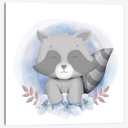 Baby Raccoon Smile Canvas Print #ARM593} by Art Mirano Canvas Art Print