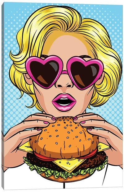Blonde With A Hamburger Canvas Art Print
