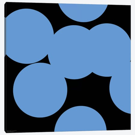 99 Blue Circles On Black Canvas Print #ARM5} by Art Mirano Canvas Art