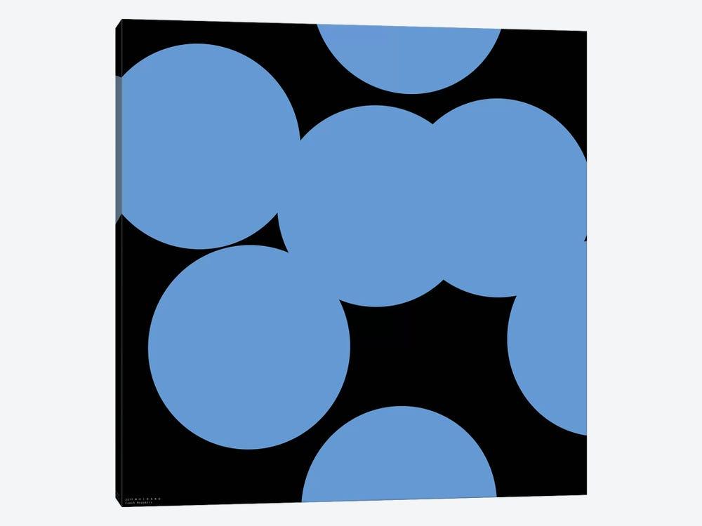99 Blue Circles On Black by Art Mirano 1-piece Canvas Art Print