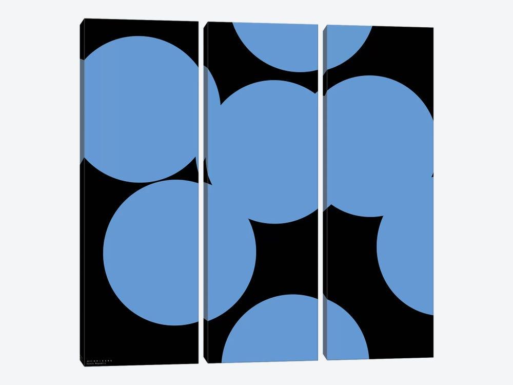 99 Blue Circles On Black by Art Mirano 3-piece Canvas Art Print
