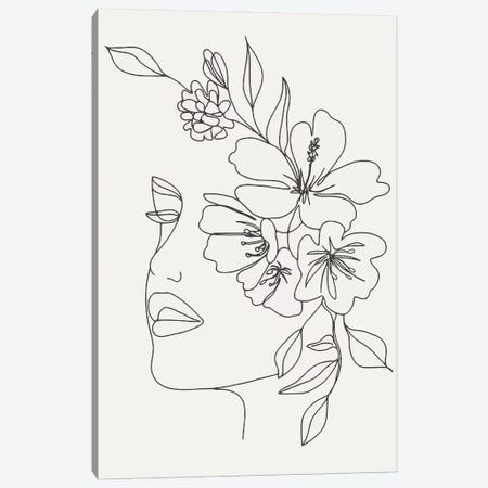 Woman With Flowers Canvas Print #ARM605} by Art Mirano Canvas Art